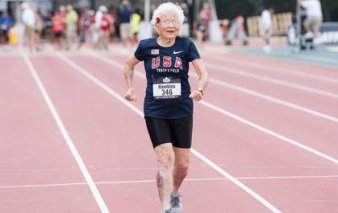 Masters runner Julia Hawkins, 101-year old age group record holder for the 100M sprint